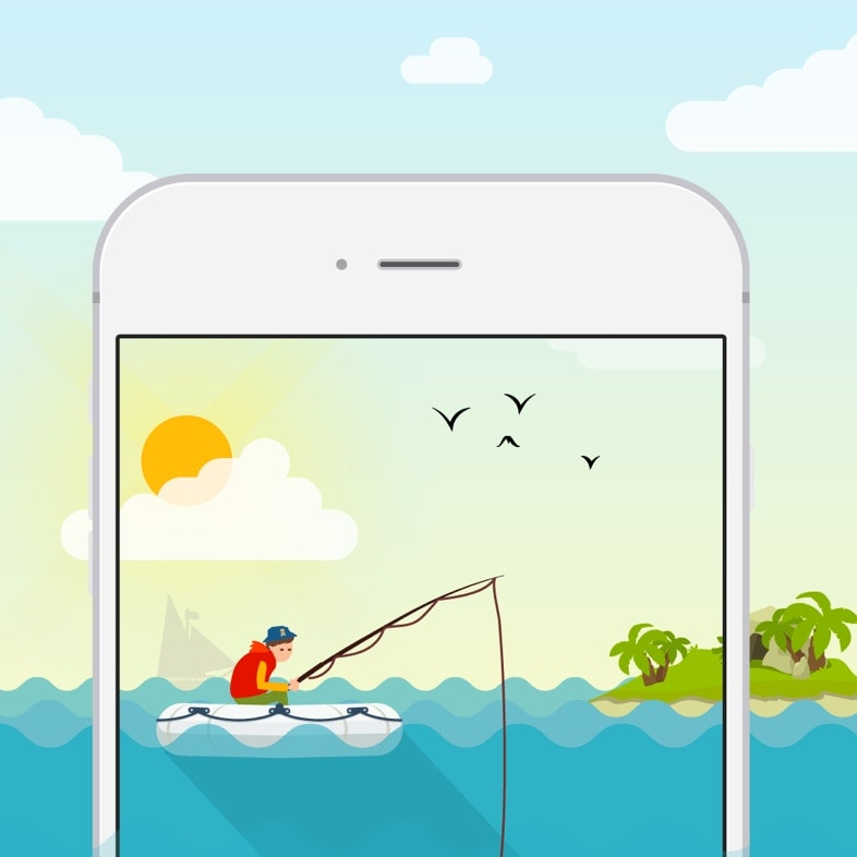 Illustration of a person fishing