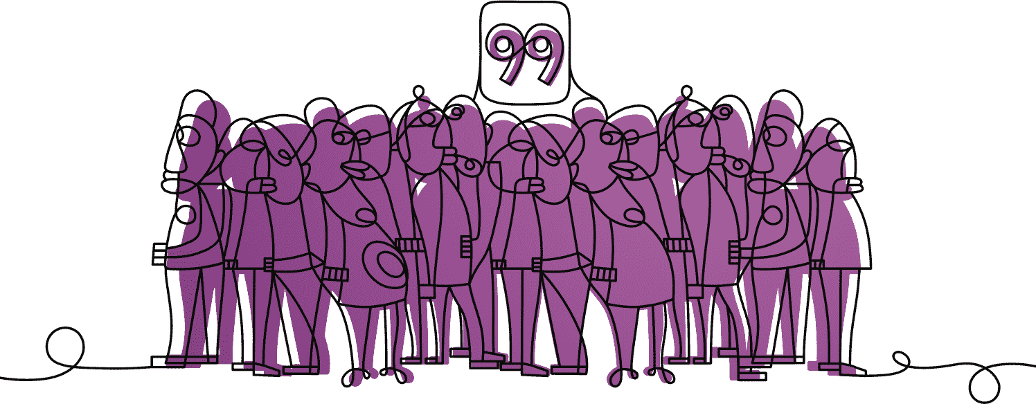 A cartoon drawing of people with the number 99 above them.